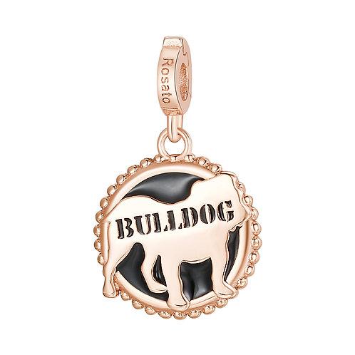 Rosato - Bulldog Charm in argento 925‰, placcatura oro rosa e smalto nero RZ114