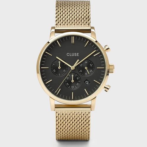 Cluse - Aravis Chrono Mesh Black, Gold Colour - CW0101502010