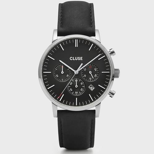 Cluse - Aravis Chrono Leather Black, Silver Colour - CW0101502001