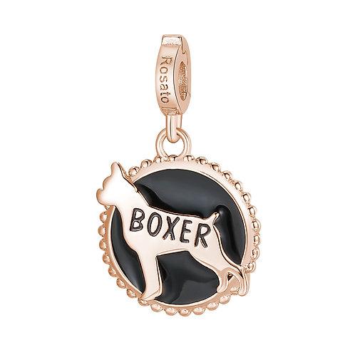 Rosato - Boxer Charm in argento 925‰, placcatura oro rosa e smalto nero RZ109