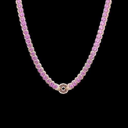 Rosato - Collana tennis Argento 925‰ galvanica oro rosa pietre lavanda RZC013
