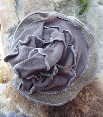 Chapeau laine et polaire kaki
