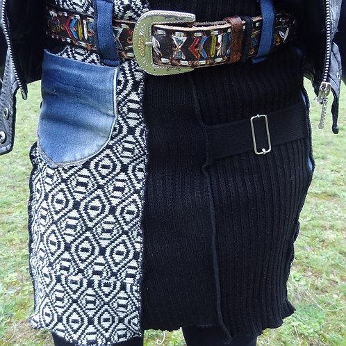 Jupe en jean, laine noire et fantaisie extensible