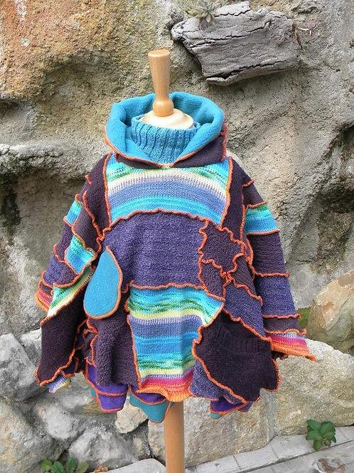 Poncho patchwork enfant 2 en 1 multicolore avec bonnet