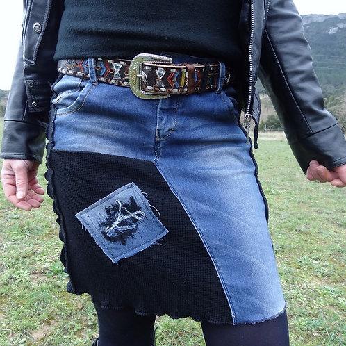 Jupe en jean et laine noire extensible