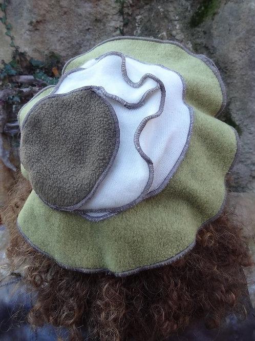 Chapeau béret en polaire kaki marron et beige