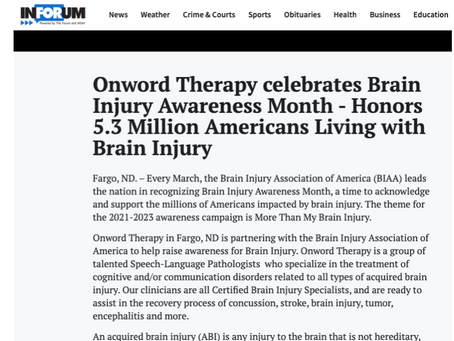Onword Therapy Honors 5.3 Million Americans Living with Brain Injury