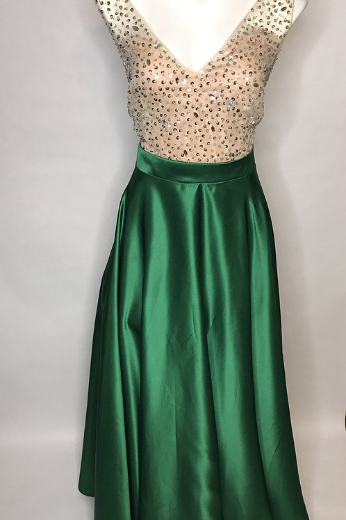 Green and Nude Prom Dress