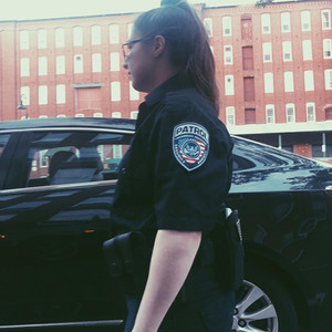 Officer Goulet of AASA conducting a foot patrol at Amazon's warehouse in Manchester, NH.