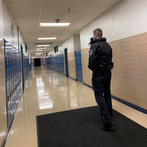 AASA Security Officer patrols the halls of Somersworth High School in Somersworth, NH.