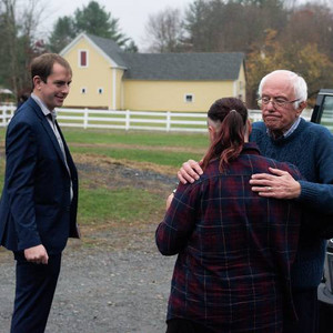Security Detail for Vermont Sen. Bernie Sanders during his visit to Claremont, NH.
