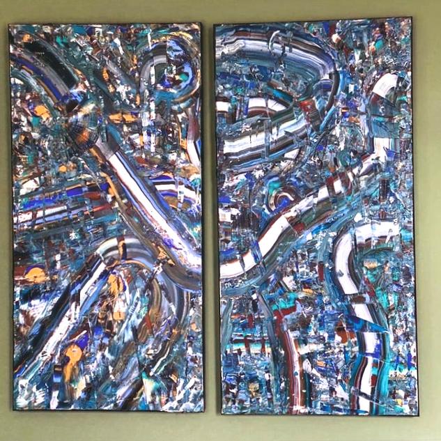 Cascades, 100 x 100 cm