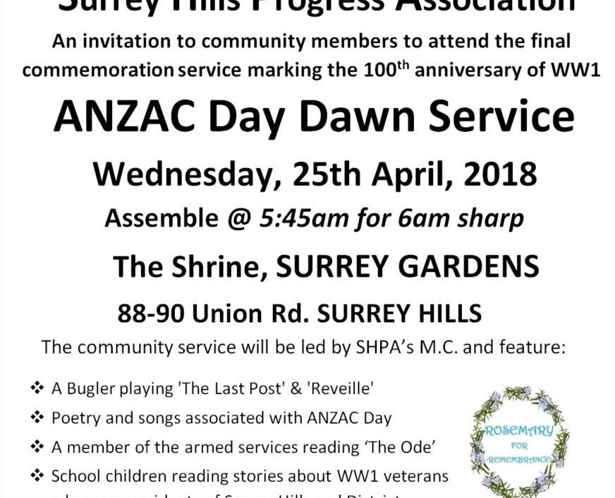 Anzac Day Dawn Service 25th April 2018