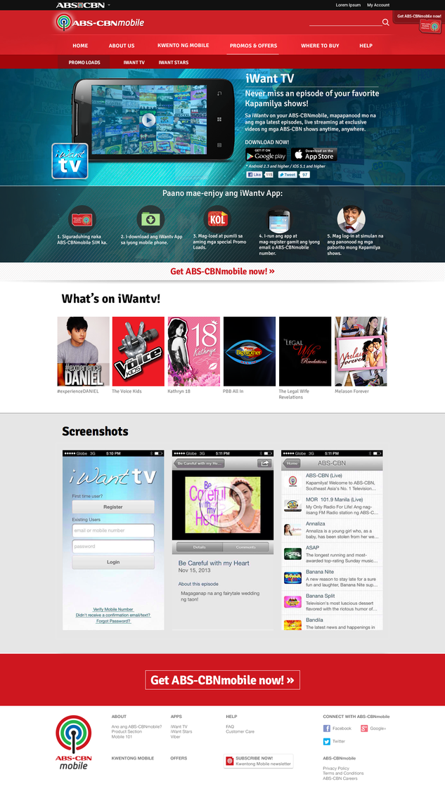 iWanTV on Main ABS-CBN SIte