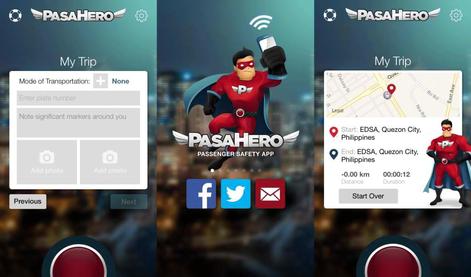 PasaHero Mobile App Basic Menus