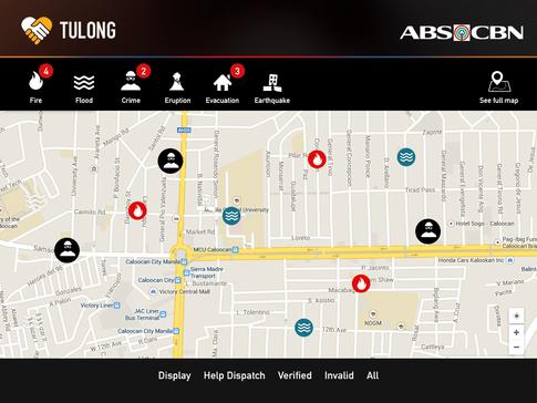 TulongPH Map with Alarm Avatars