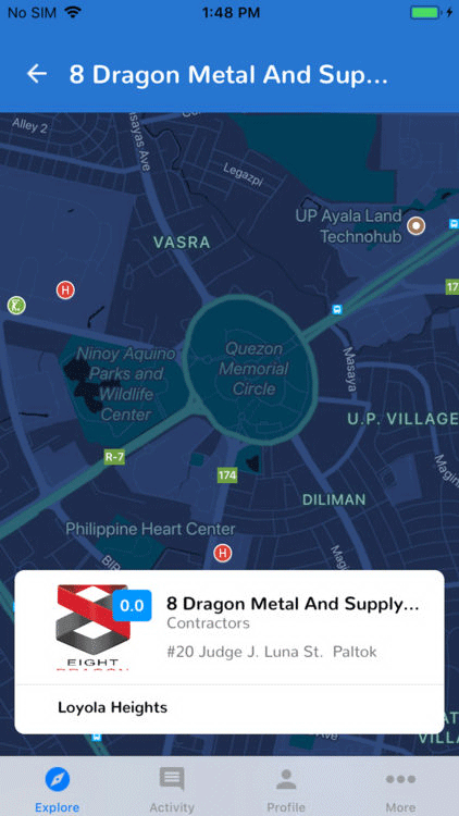 QC4Me Mobile App Map Section