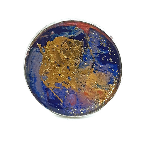 Hand painted silver plate adjustable ring -Blue, Purple and Gold Leaf