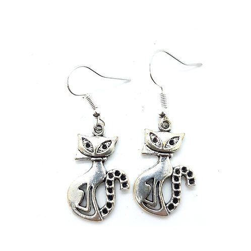 Antique silver toned kool kitty earrings