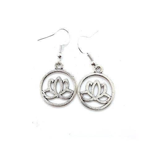 Silvertone Lotus Earrings