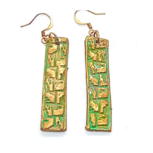 Primitive inspired electroformed dangle earrings
