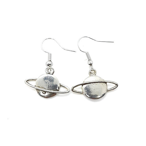 Silver Plated Saturn drop earrings