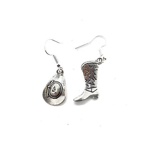 Silver tone Western inspired Earrings