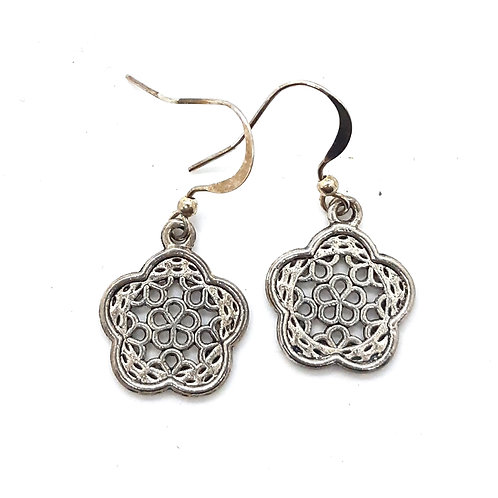Silver Plated Floral Mandala drop earrings