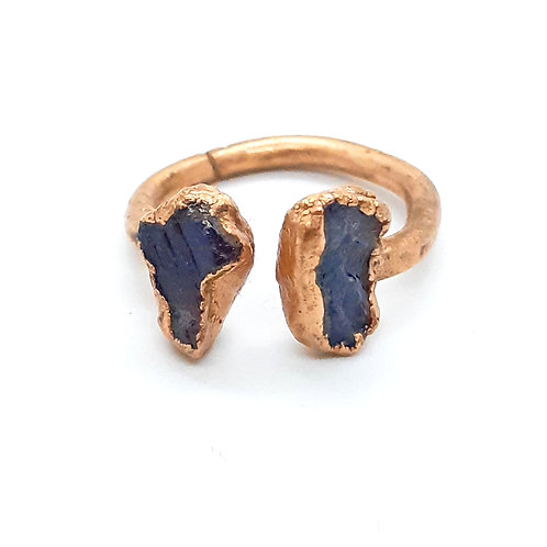 Adjustable copper ring with Blue Sapphire