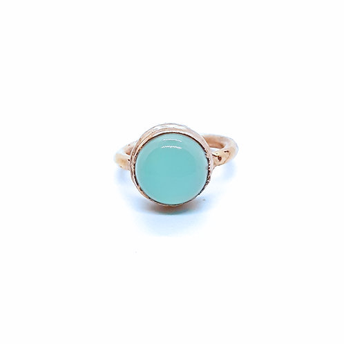 Electroformed Aqua Blue Chalcedony Ring