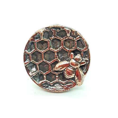 Electroformed honeycomb beeswax adjustable ring