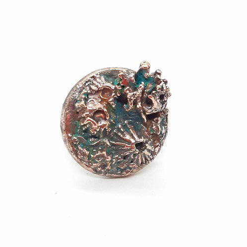 Copper Barnacle and Lichen Adjustable Ring