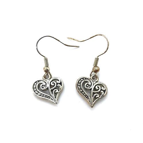 Silver plated scroll work Heart drop earrings