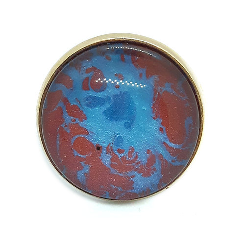 Hand painted silver plate adjustable ring -Wine and Blue