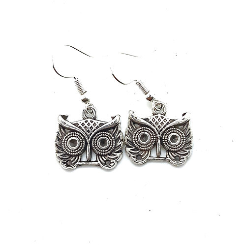 Silver plated Owl Earrings With Surgical Steel Earwires