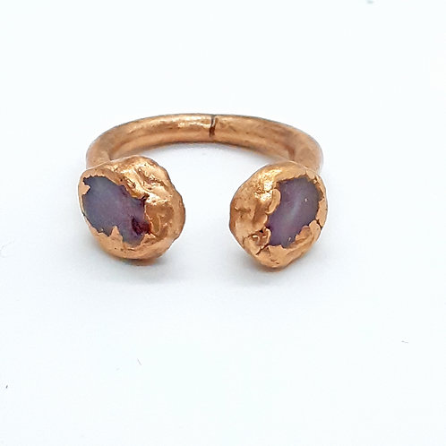 Adjustable copper ring withruby
