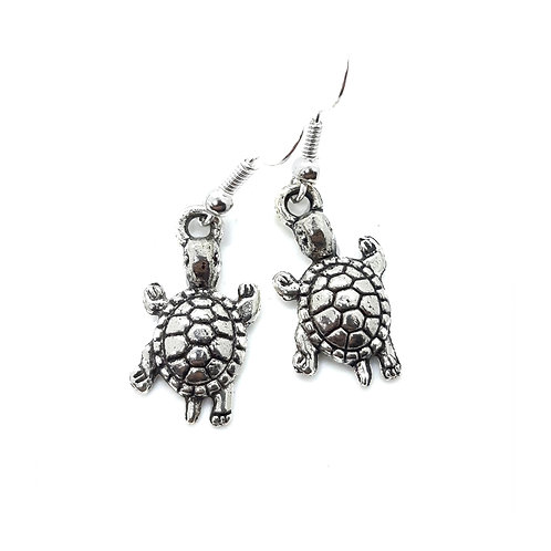 Silver tone Tortoise Earrings With Surgical Steel Earwires