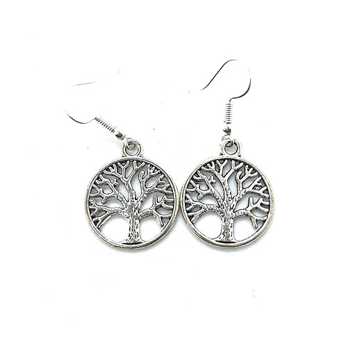 Silver plated Tree of Life earrings with surgical steel earwires