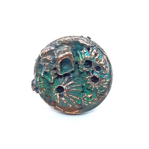 Electroformed copper barnacle adjustable Ring
