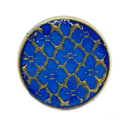 Hand painted silver plate adjustable ring -Blues and Gold Floral