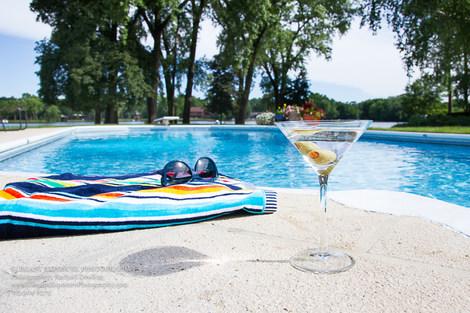 pooliside, martini, staging, sunglasses, real estate