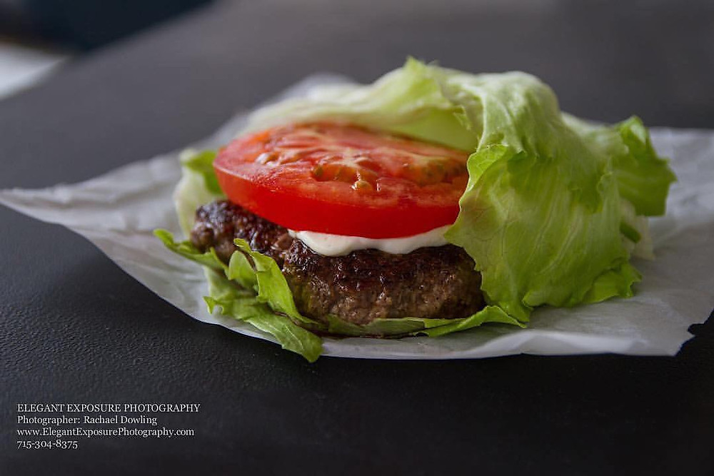 lettuce wrap burger with tomato and mayo
