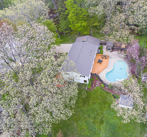 drone photography, cherry trees, pool, green bay real estate