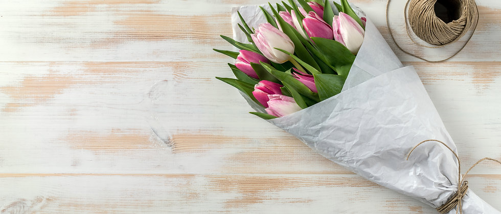 Hand-tie and Paper Wrapped Tulip Bouquet - 10 tulips