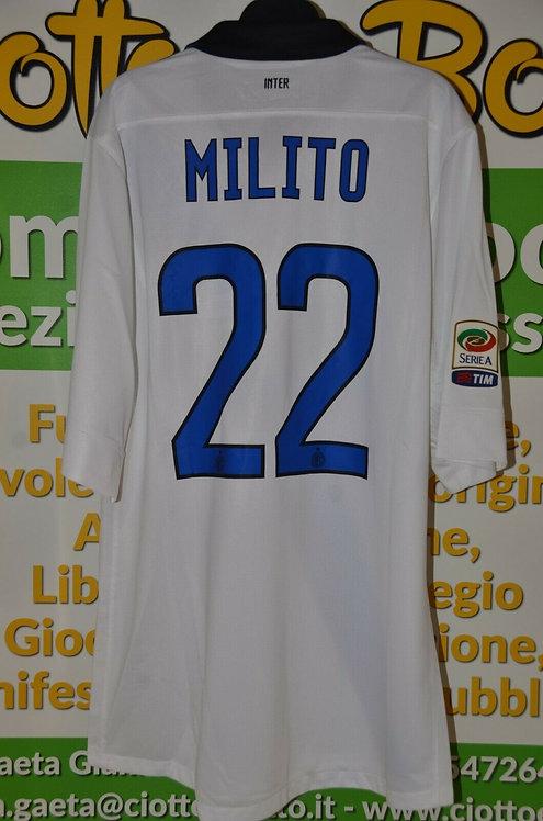 Maglia INTER # 22 Diego MILITO Serie A 2011/12 match worn shirt NIKE PIRELLI