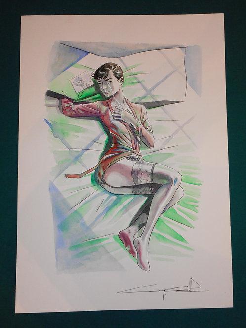 Giuseppe Candita Original Comic Art - illustrazione A3 china e acquerello JULIA