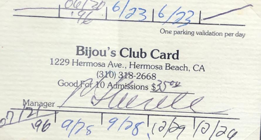 Bijou's Club Card