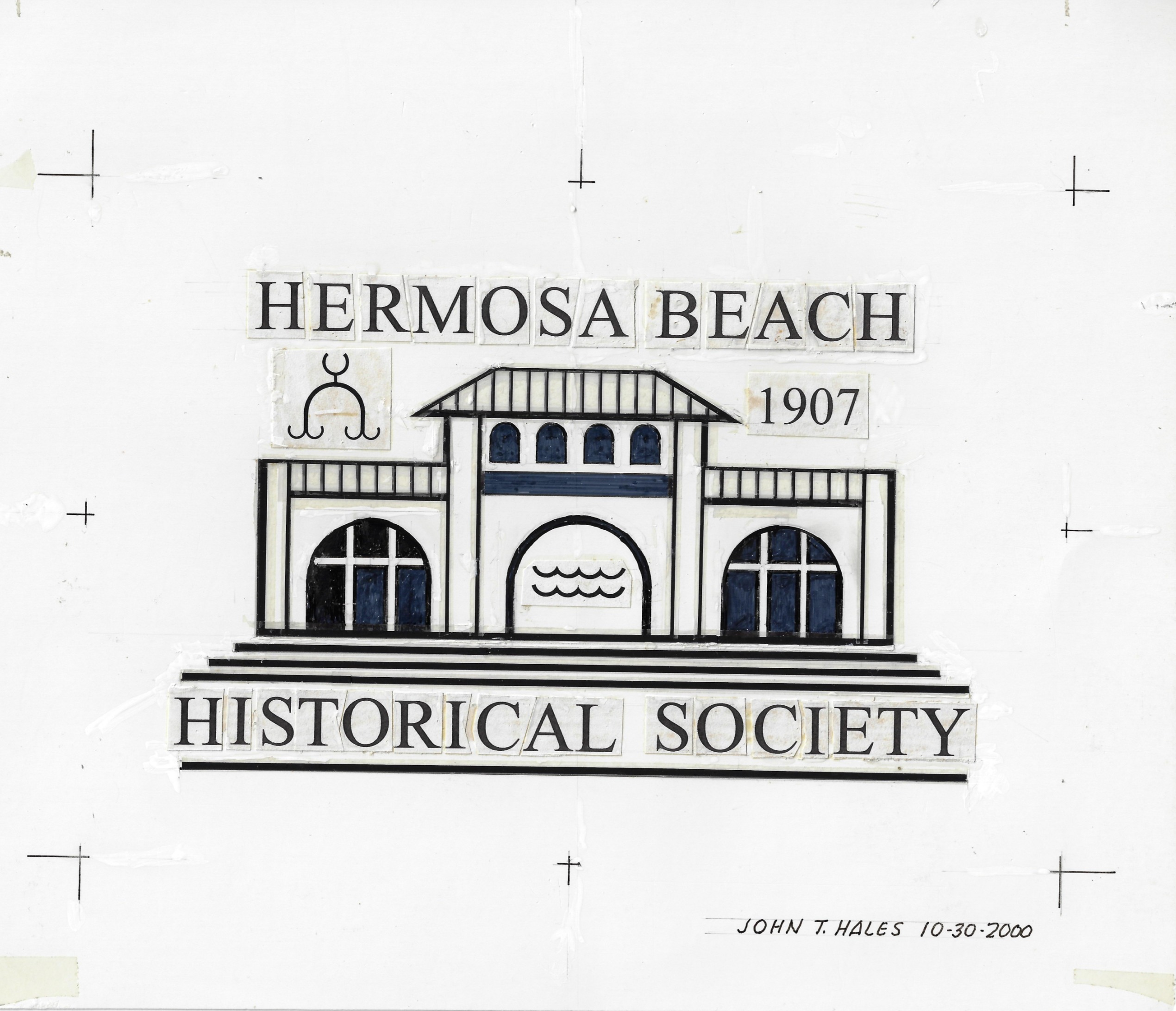 HBHS Logo Pier Pavillion Paste Up Original Art for Repro