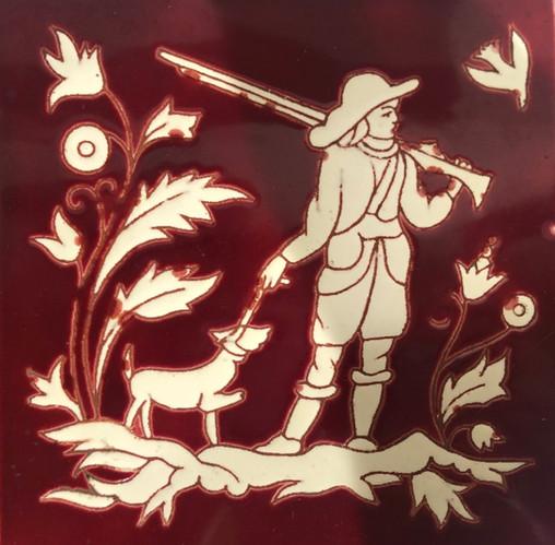 Hunter on Burgandy Background