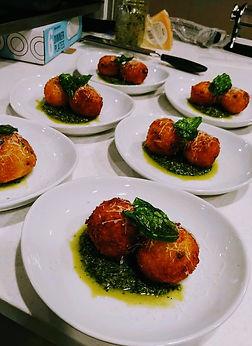 Arancini, basil pesto, grated parmesan